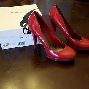 Nine west red patent pumps